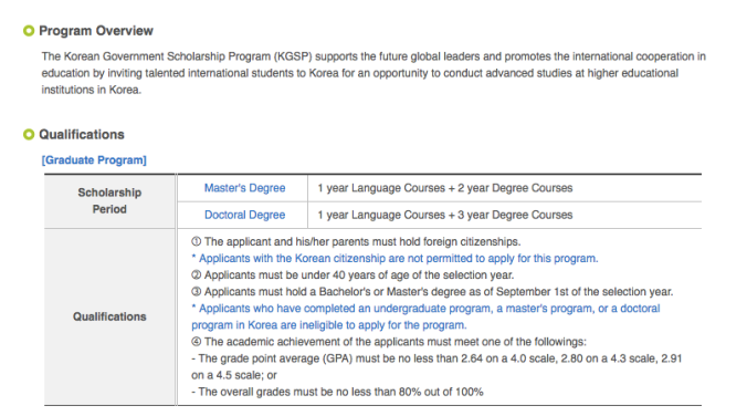 Korean Government Scholarship Program Graduate KGSP-G