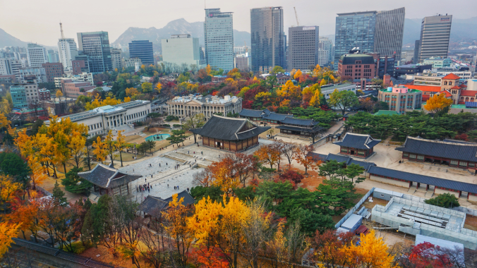 Jeongdong observatory in seoul during autumn