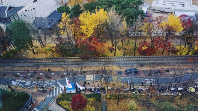 deoksugung palace view from jeongdong observatory during autumn